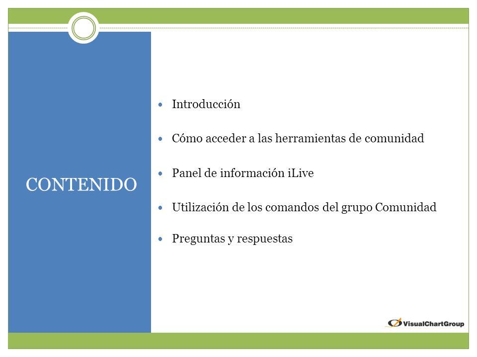 CONTENIDO Introducción Cómo acceder a las herramientas de comunidad Panel de información iLive Utilización de los comandos del grupo Comunidad Preguntas y respuestas