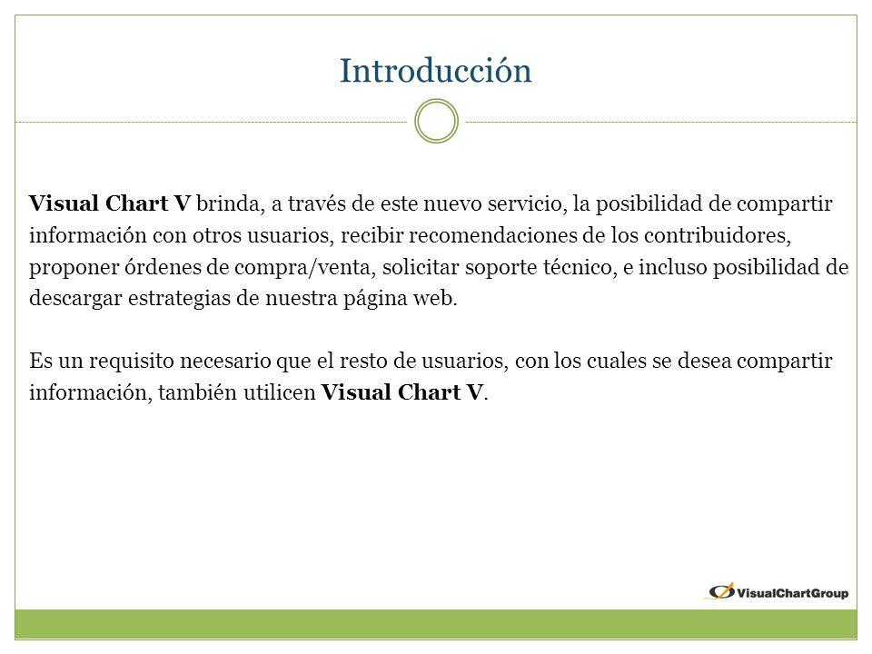Introducción Visual Chart V brinda, a través de este nuevo servicio, la posibilidad de compartir información con otros usuarios, recibir recomendaciones de los contribuidores, proponer órdenes de compra/venta, solicitar soporte técnico, e incluso posibilidad de descargar estrategias de nuestra página web.