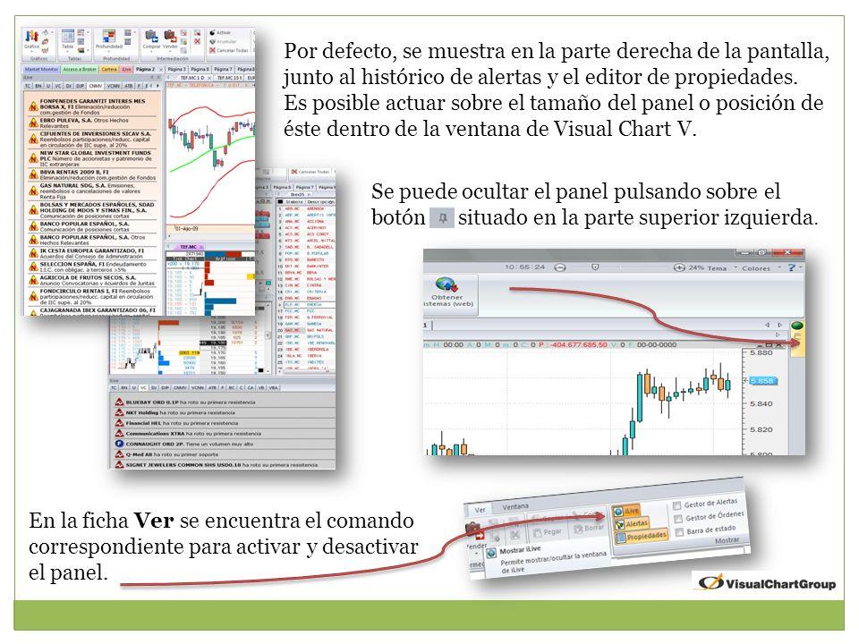 Por defecto, se muestra en la parte derecha de la pantalla, junto al histórico de alertas y el editor de propiedades.