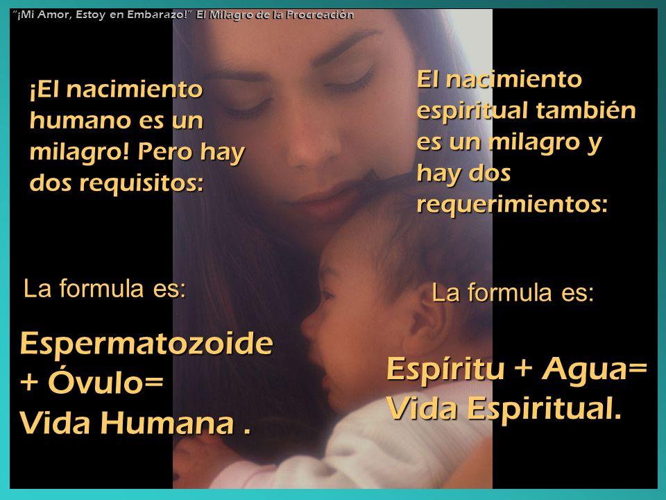 ¡El nacimiento humano es un milagro! Pero hay dos requisitos: La formula es: Espermatozoide + Óvulo= Vida Humana. El nacimiento espiritual también es