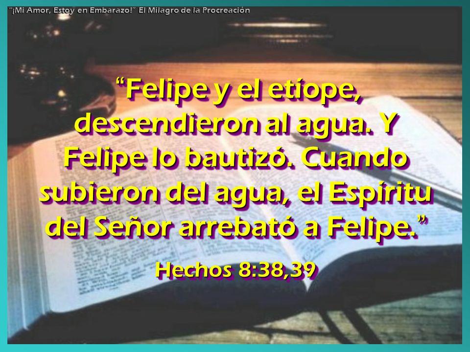 Felipe y el etíope, descendieron al agua. Y Felipe lo bautizó. Cuando subieron del agua, el Espíritu del Señor arrebató a Felipe. Felipe y el etíope,