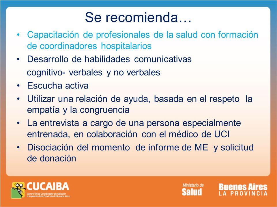Se recomienda… Capacitación de profesionales de la salud con formación de coordinadores hospitalarios Desarrollo de habilidades comunicativas cognitiv