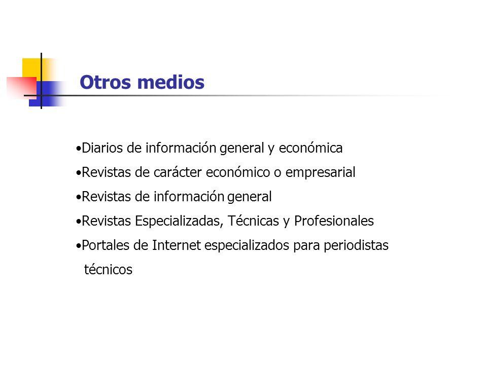 Diarios de información general y económica Revistas de carácter económico o empresarial Revistas de información general Revistas Especializadas, Técni