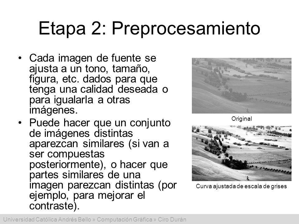 Universidad Católica Andrés Bello » Computación Gráfica » Ciro Durán Etapa 2: Preprocesamiento Cada imagen de fuente se ajusta a un tono, tamaño, figu