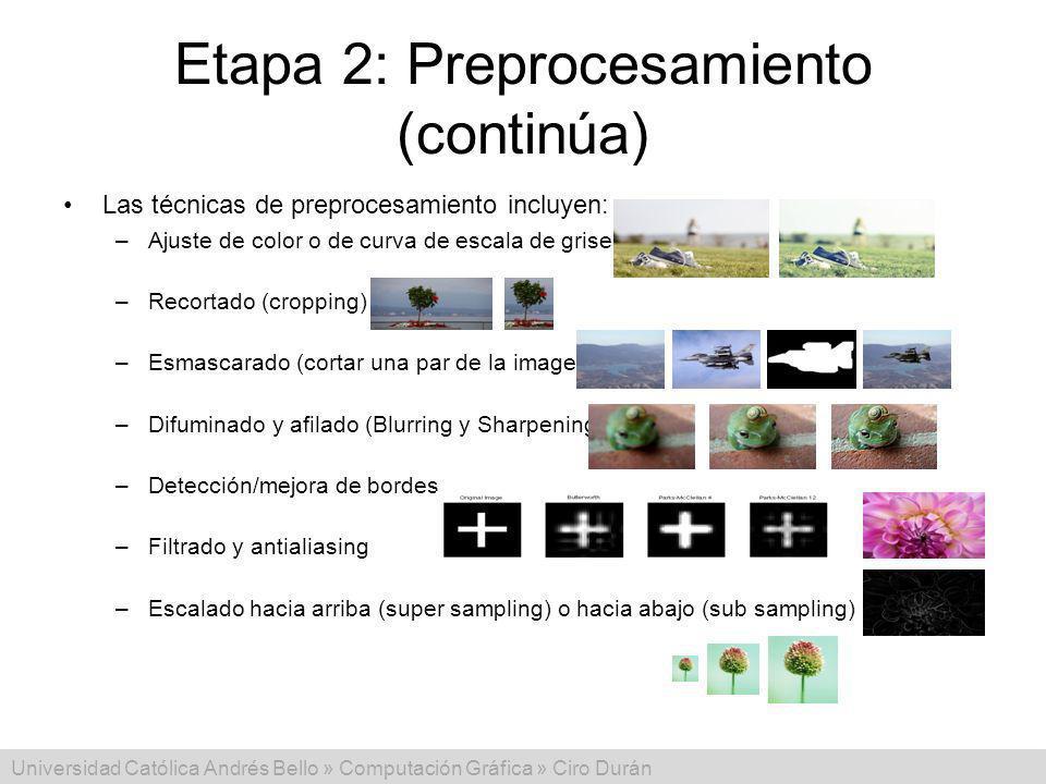 Universidad Católica Andrés Bello » Computación Gráfica » Ciro Durán Etapa 2: Preprocesamiento (continúa) Las técnicas de preprocesamiento incluyen: –