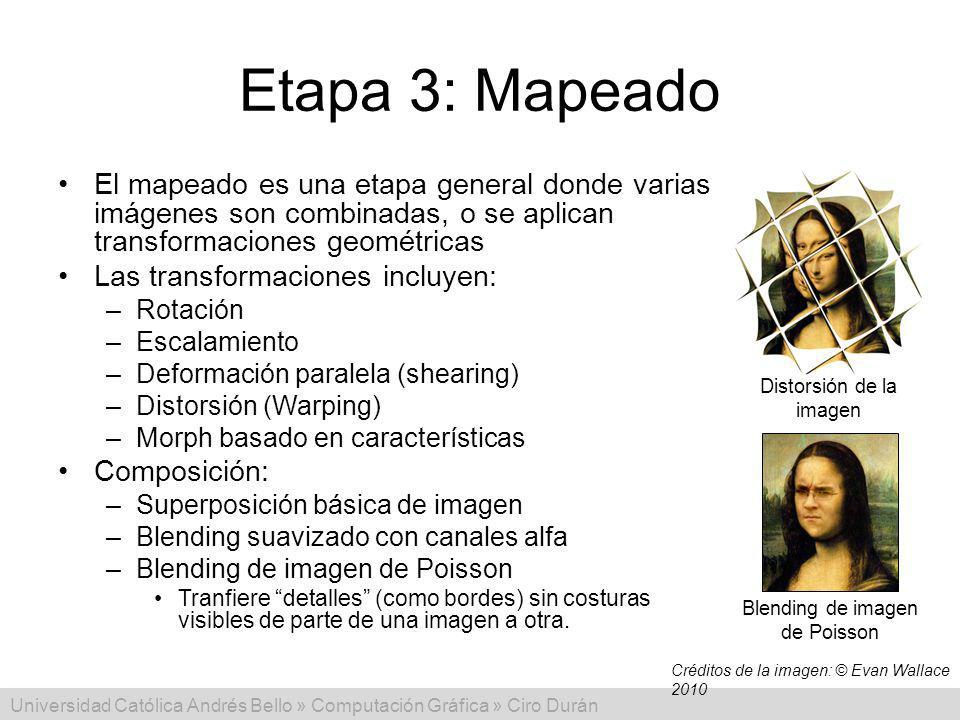 Universidad Católica Andrés Bello » Computación Gráfica » Ciro Durán Etapa 3: Mapeado El mapeado es una etapa general donde varias imágenes son combin