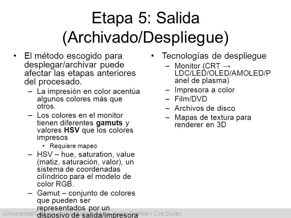 Universidad Católica Andrés Bello » Computación Gráfica » Ciro Durán Etapa 5: Salida (Archivado/Despliegue) El método escogido para desplegar/archivar
