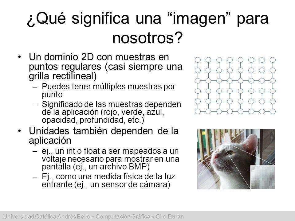 Universidad Católica Andrés Bello » Computación Gráfica » Ciro Durán ¿Qué significa una imagen para nosotros? Un dominio 2D con muestras en puntos reg