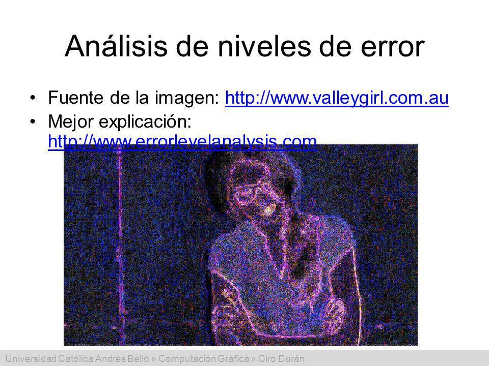 Universidad Católica Andrés Bello » Computación Gráfica » Ciro Durán Análisis de niveles de error Fuente de la imagen: http://www.valleygirl.com.auhttp://www.valleygirl.com.au Mejor explicación: http://www.errorlevelanalysis.com http://www.errorlevelanalysis.com