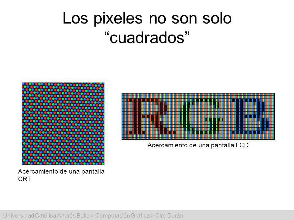 Universidad Católica Andrés Bello » Computación Gráfica » Ciro Durán Los pixeles no son solo cuadrados Acercamiento de una pantalla CRT Acercamiento d