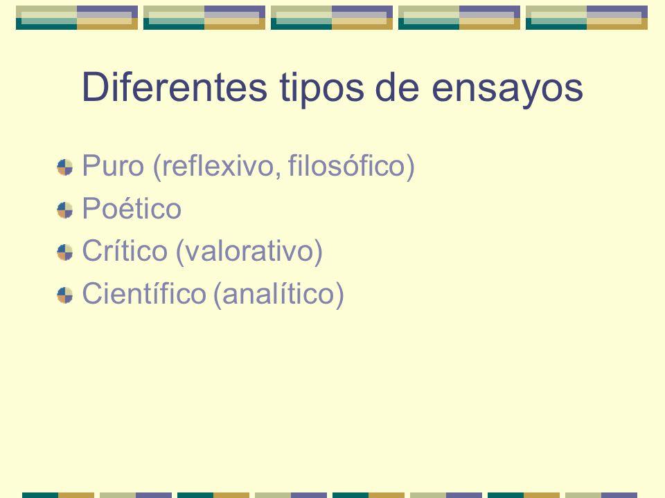 Diferentes tipos de ensayos Puro (reflexivo, filosófico) Poético Crítico (valorativo) Científico (analítico)