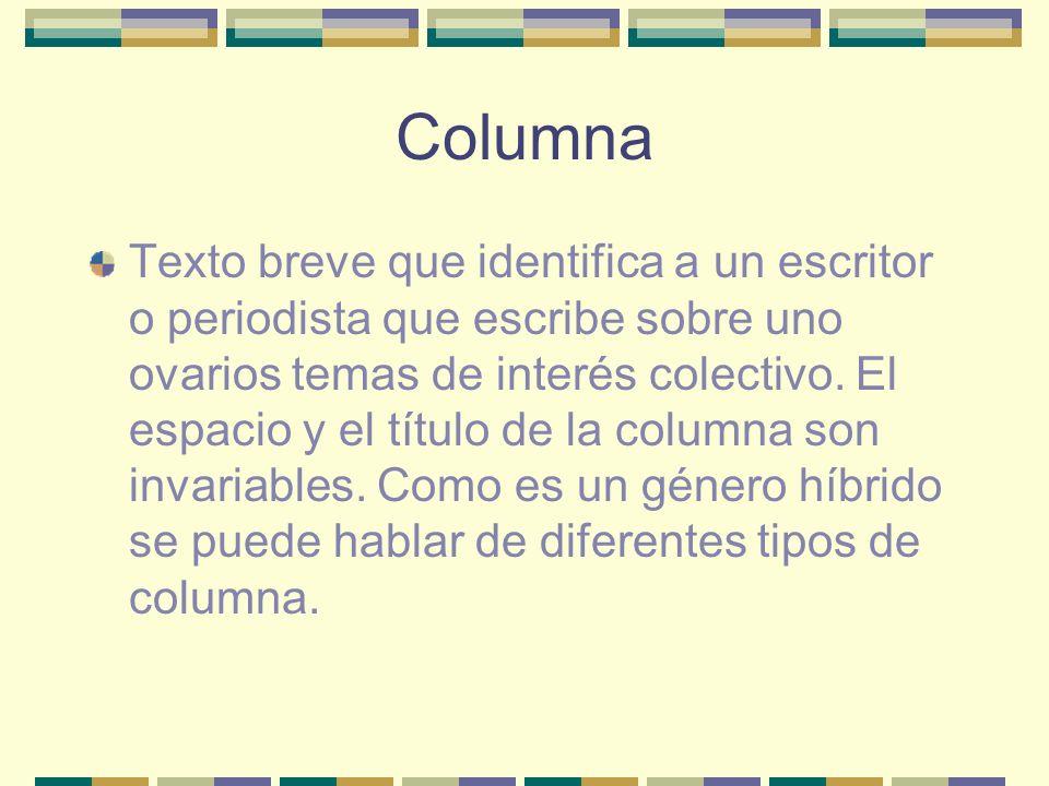 Columna Texto breve que identifica a un escritor o periodista que escribe sobre uno ovarios temas de interés colectivo.
