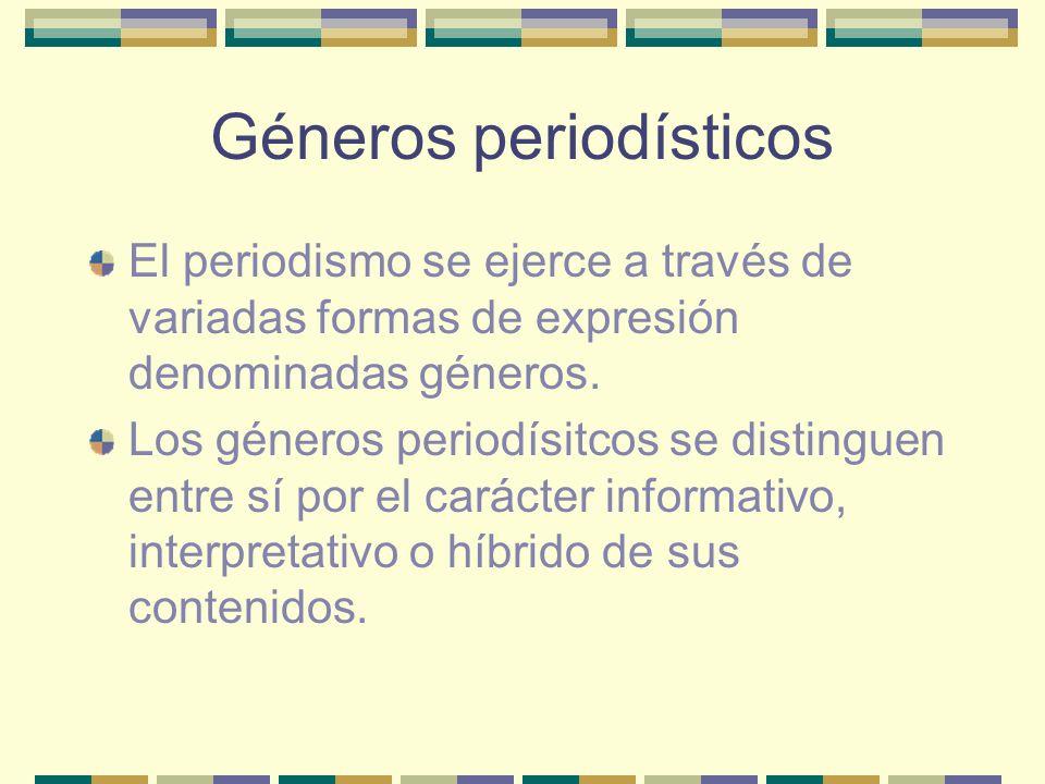Géneros periodísticos El periodismo se ejerce a través de variadas formas de expresión denominadas géneros.