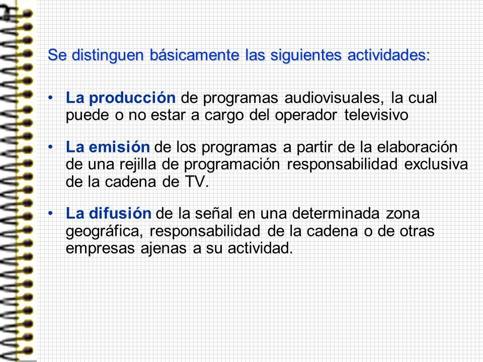 Se distinguen básicamente las siguientes actividades: La producción de programas audiovisuales, la cual puede o no estar a cargo del operador televisi