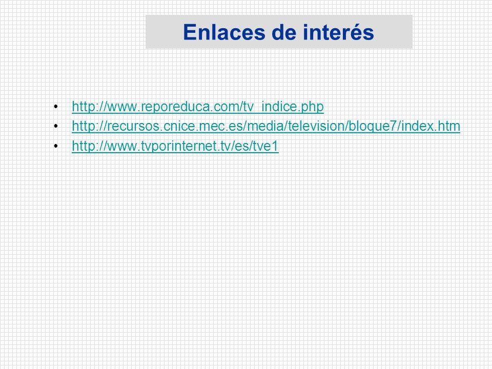 Enlaces de interés http://www.reporeduca.com/tv_indice.php http://recursos.cnice.mec.es/media/television/bloque7/index.htm http://www.tvporinternet.tv