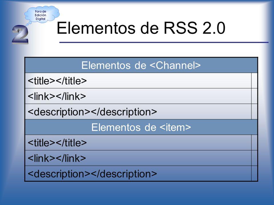 Elementos de RSS 2.0 Elementos de Elementos de Foro de Edición Digital