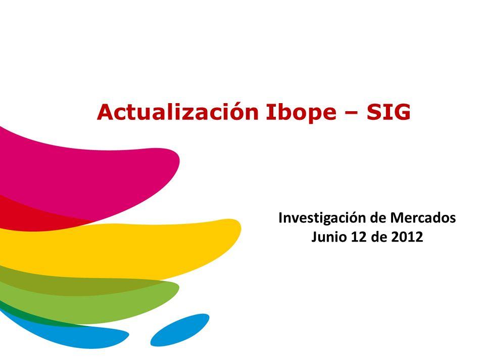 Actualización Ibope – SIG Investigación de Mercados Junio 12 de 2012