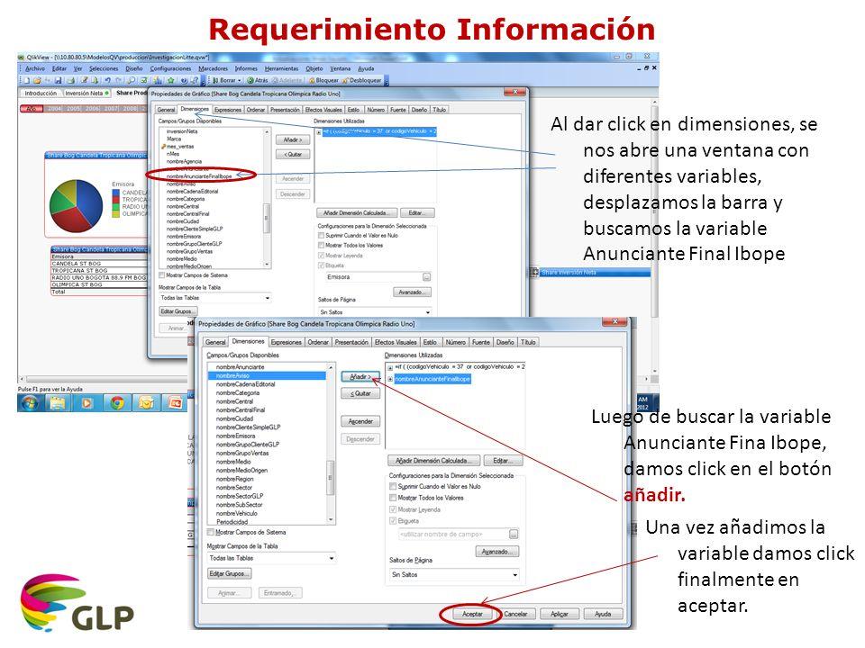Al dar click en dimensiones, se nos abre una ventana con diferentes variables, desplazamos la barra y buscamos la variable Anunciante Final Ibope Luego de buscar la variable Anunciante Fina Ibope, damos click en el botón añadir.