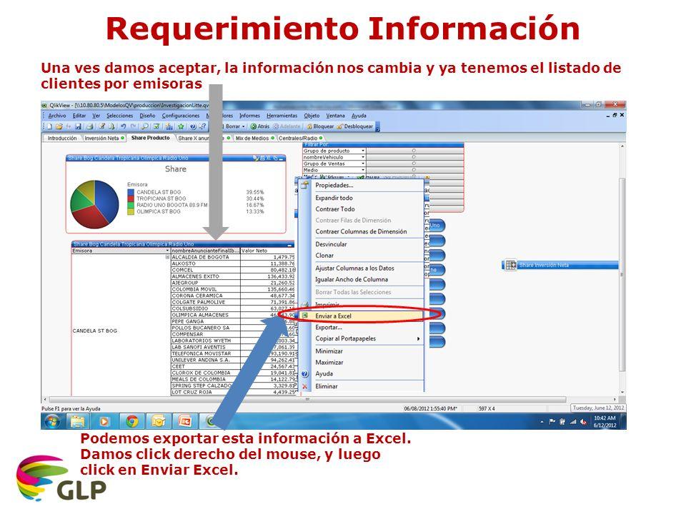 Una ves damos aceptar, la información nos cambia y ya tenemos el listado de clientes por emisoras Podemos exportar esta información a Excel.
