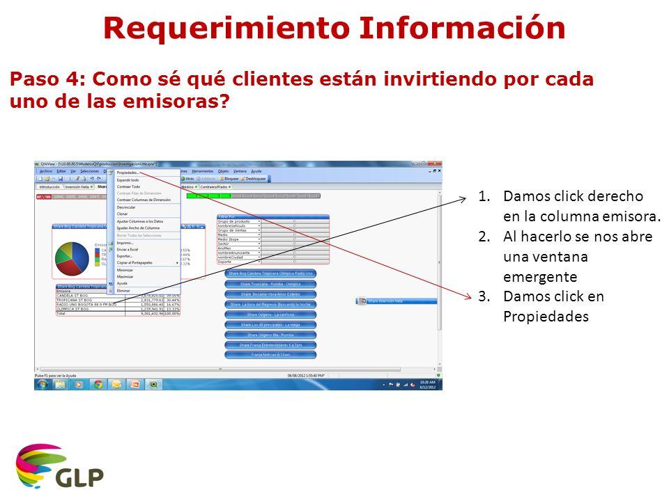 Requerimiento Información Paso 4: Como sé qué clientes están invirtiendo por cada uno de las emisoras.