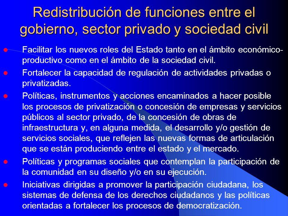 Facilitar los nuevos roles del Estado tanto en el ámbito económico- productivo como en el ámbito de la sociedad civil. Fortalecer la capacidad de regu