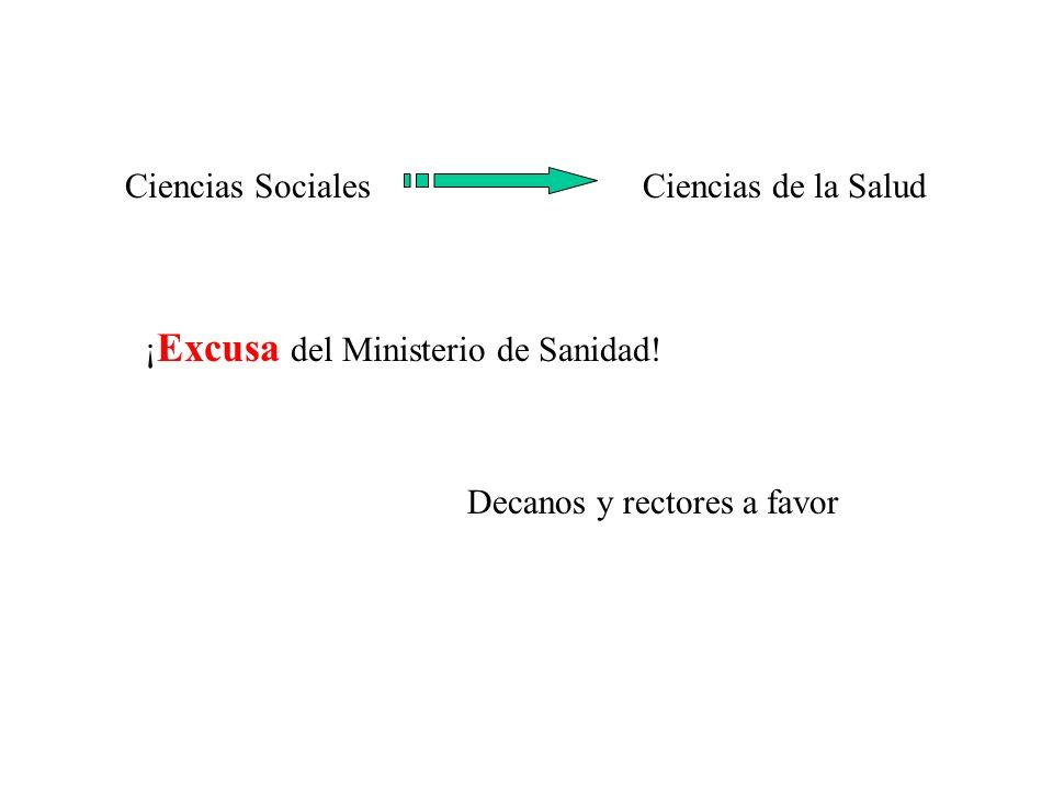 Ciencias de la SaludCiencias Sociales ¡ Excusa del Ministerio de Sanidad.