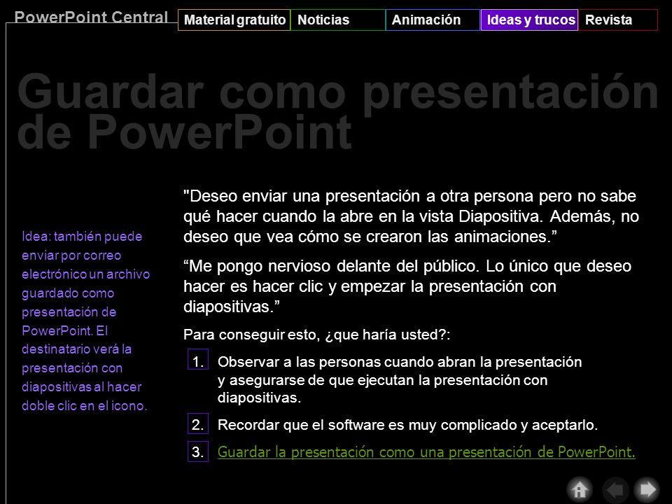 PowerPoint Central Material gratuitoNoticiasAnimaciónIdeas y trucosRevista Presentación remota le permite impartir una presentación (a través de Inter
