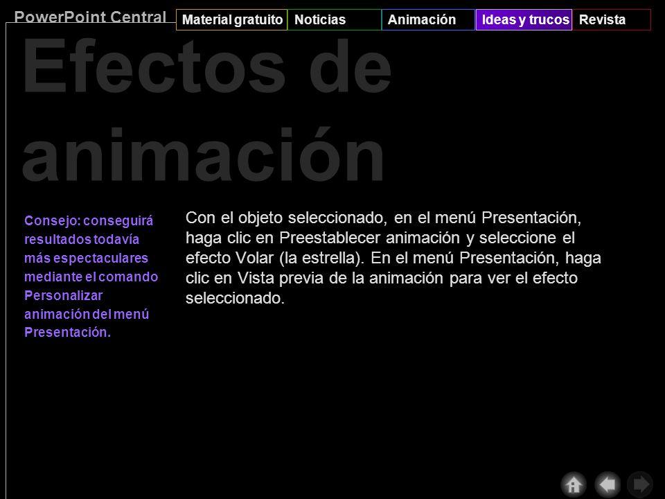 PowerPoint Central Material gratuitoNoticiasAnimaciónIdeas y trucosRevista Efectos de animación R P