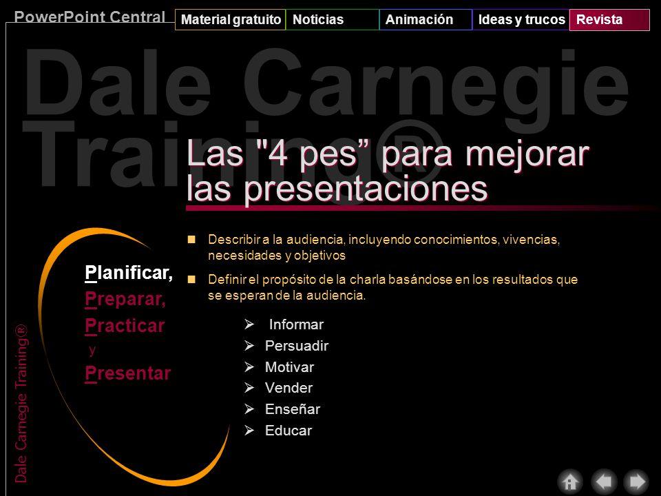PowerPoint Central Material gratuitoNoticiasAnimaciónIdeas y trucosRevista Dale Carnegie Training® Muchas personas creen que los buenos comunicadores