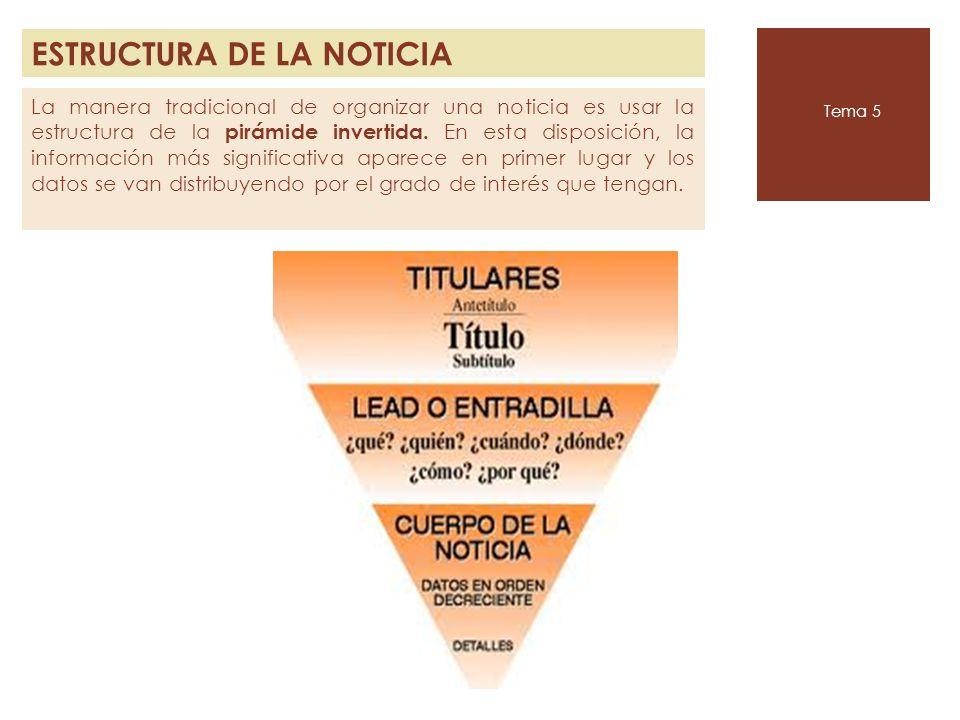 ESTRUCTURA DE LA NOTICIA Tema 5 La manera tradicional de organizar una noticia es usar la estructura de la pirámide invertida. En esta disposición, la