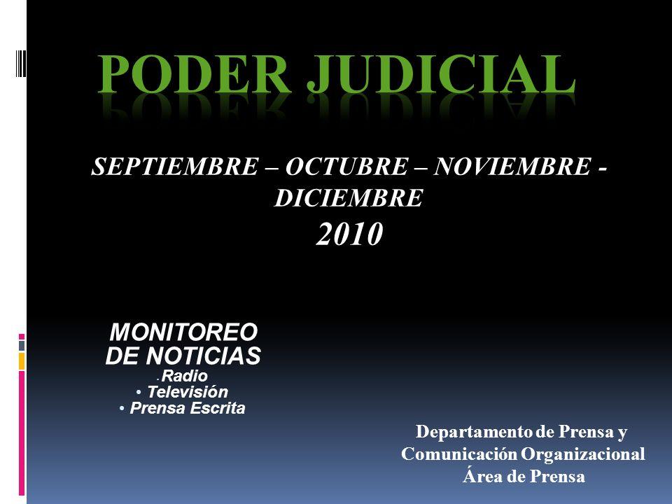 MONITOREO DE NOTICIAS Radio Televisión Prensa Escrita SEPTIEMBRE – OCTUBRE – NOVIEMBRE - DICIEMBRE 2010 Departamento de Prensa y Comunicación Organizacional Área de Prensa