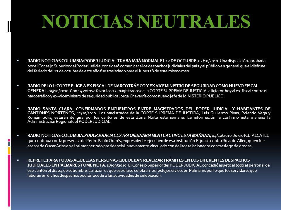 NOTICIAS POSITIVAS RADIO NOTICIAS COLUMBIA: AGILIZAN RESOLUCIÓN DE CASOS EN TRIBUNAL AGRARIO, 12/10/2010: El Tribuna Agrario demostró que en tan solo