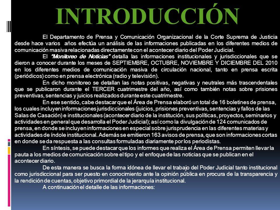 MONITOREO DE NOTICIAS Radio Televisión Prensa Escrita SEPTIEMBRE – OCTUBRE – NOVIEMBRE - DICIEMBRE 2010 Departamento de Prensa y Comunicación Organiza