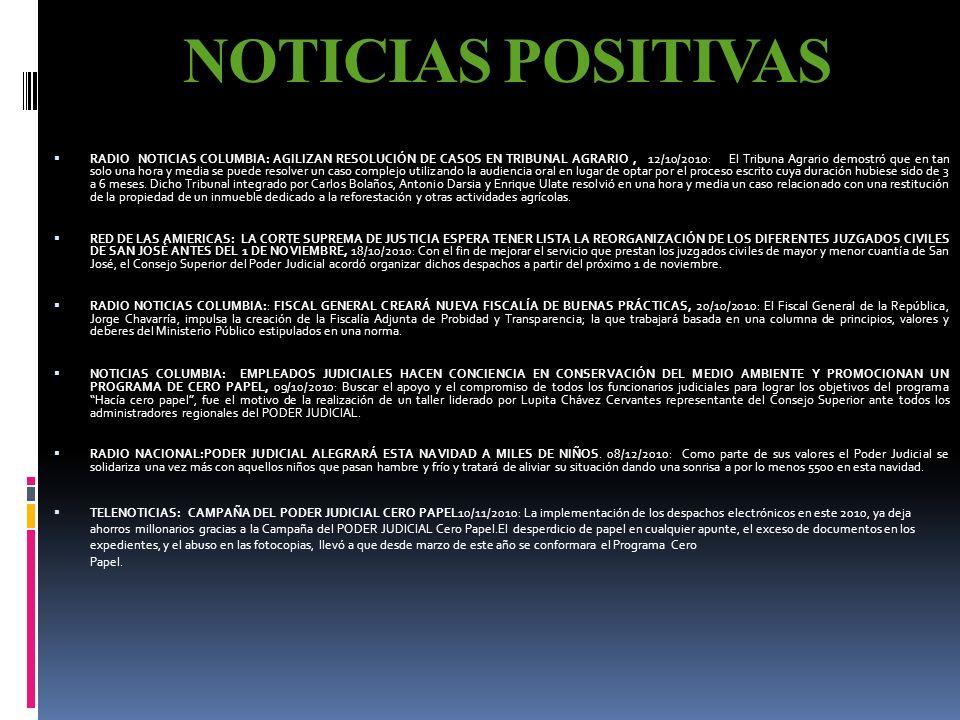 NOTICIAS POSITIVAS RADIO MONUMENTAL, NUESTRA VOZ: IMPLEMENTACIÓN EN LAS MEJORAS EN LAS FORMAS DE TRABAJO DE UN JUZGADO PENAL, 05/10/2010: El proyecto