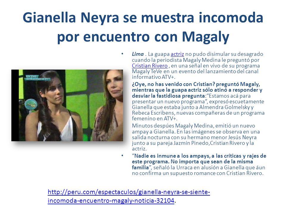 Gianella Neyra se muestra incomoda por encuentro con Magaly Lima.