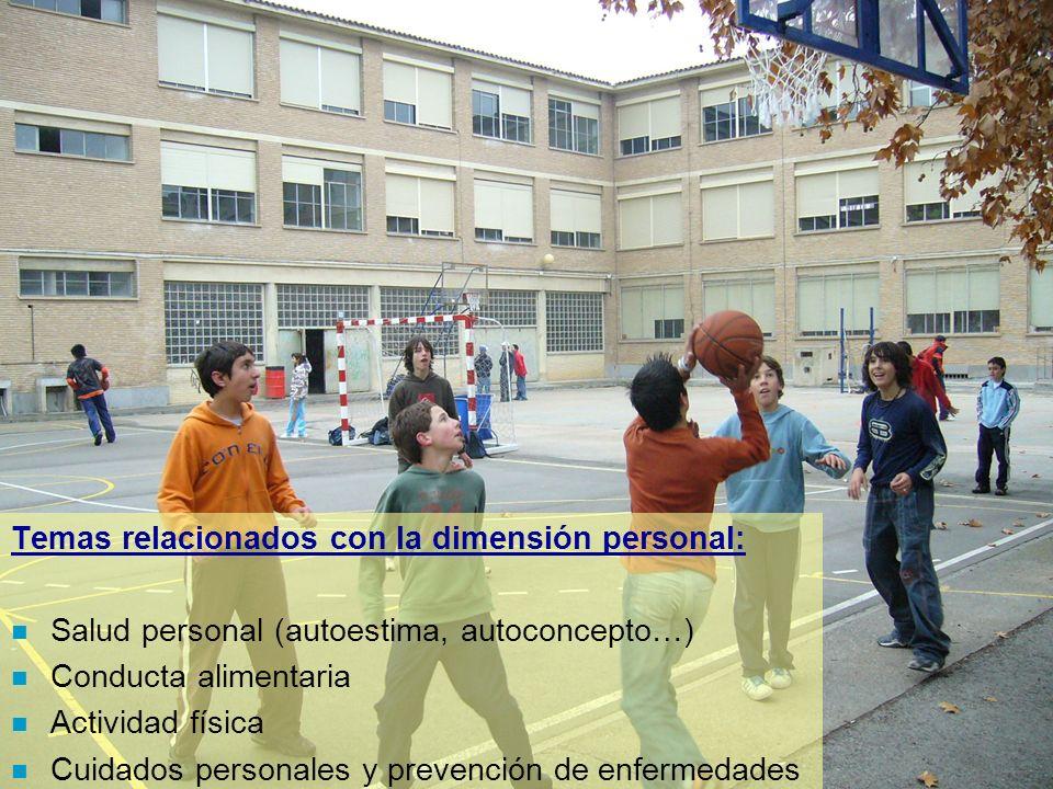 Temas relacionados con la dimensión personal: n Salud personal (autoestima, autoconcepto…) n Conducta alimentaria n Actividad física n Cuidados person