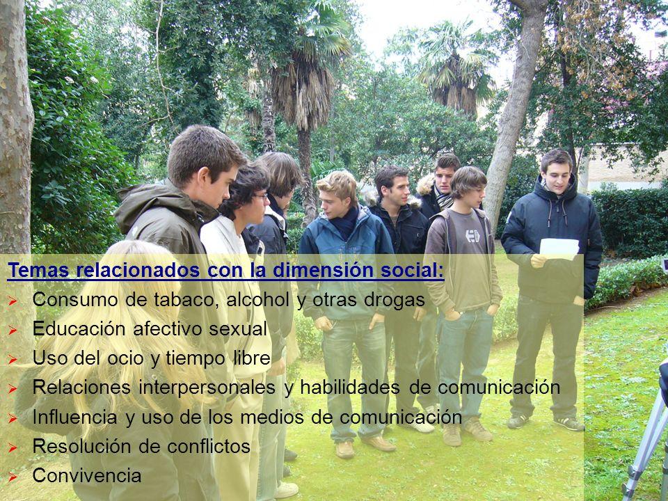 Temas relacionados con la dimensión social: Consumo de tabaco, alcohol y otras drogas Educación afectivo sexual Uso del ocio y tiempo libre Relaciones