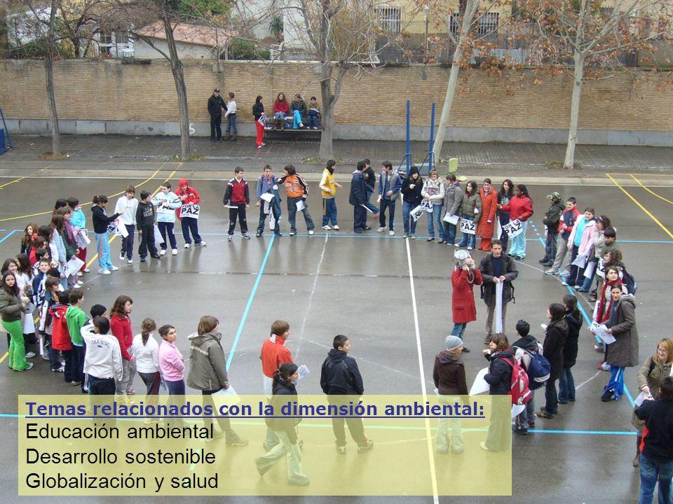 Temas relacionados con la dimensión ambiental: Educación ambiental Desarrollo sostenible Globalización y salud