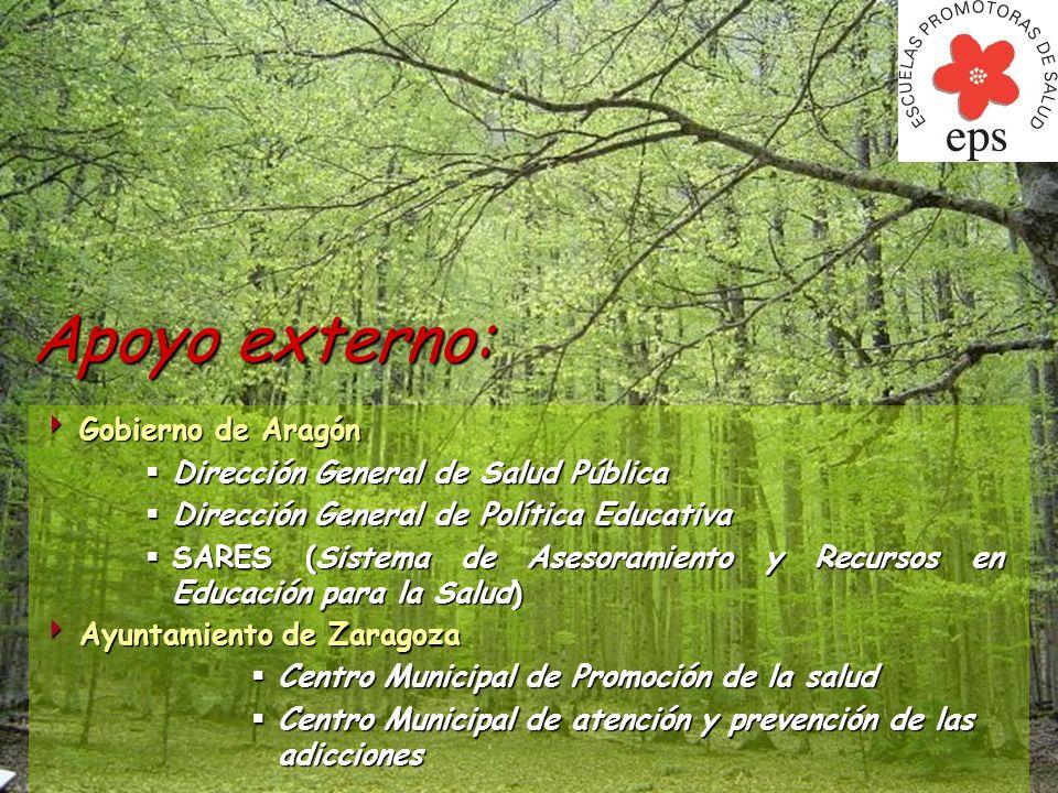 Apoyo externo: Gobierno de Aragón Gobierno de Aragón Dirección General de Salud Pública Dirección General de Salud Pública Dirección General de Políti