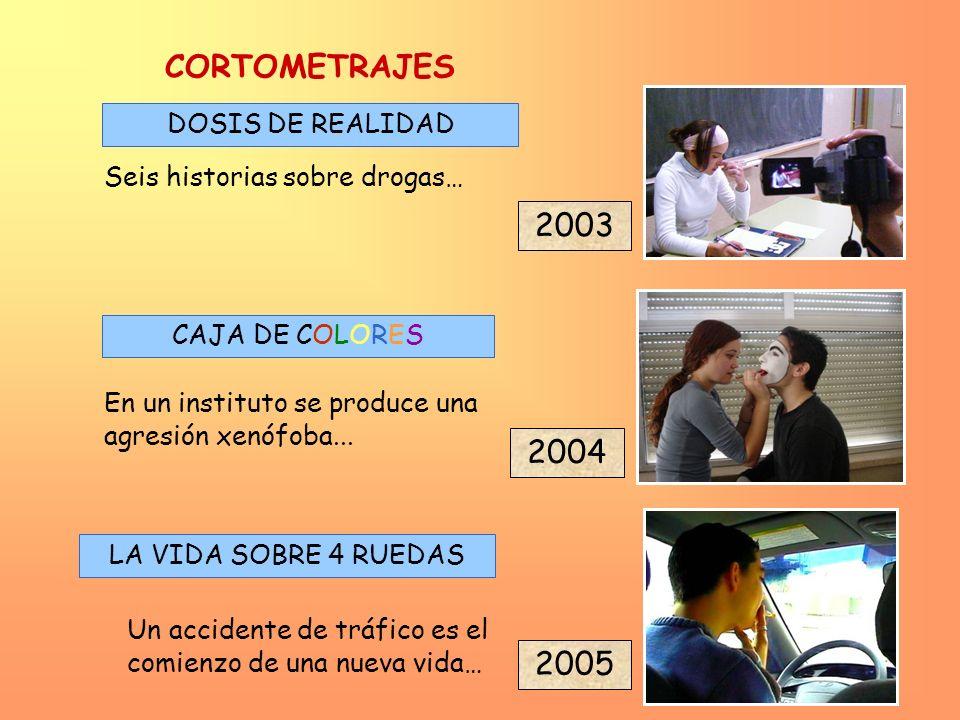 2005 2004 2003 DOSIS DE REALIDAD CAJA DE COLORES En un instituto se produce una agresión xenófoba... Seis historias sobre drogas… CORTOMETRAJES LA VID