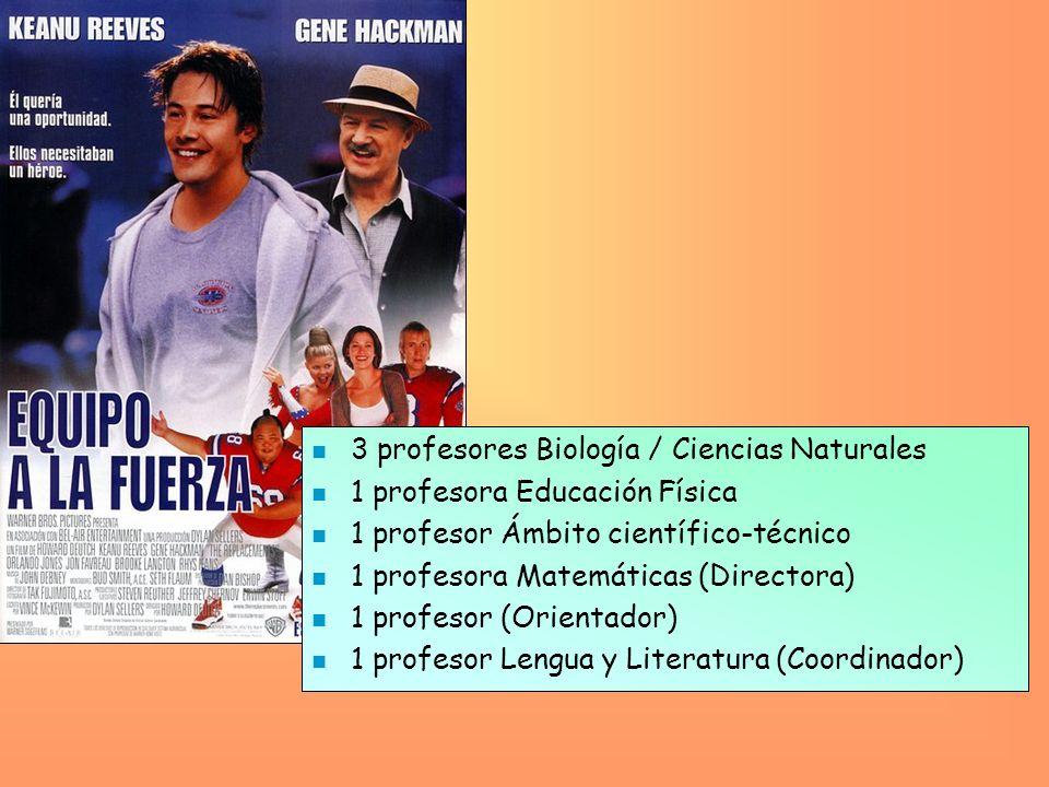 n 3 profesores Biología / Ciencias Naturales n 1 profesora Educación Física n 1 profesor Ámbito científico-técnico n 1 profesora Matemáticas (Director