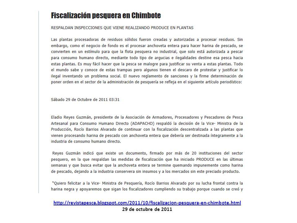 http://revistapesca.blogspot.com/2011/10/fiscalizacion-pesquera-en-chimbote.html 29 de octubre de 2011