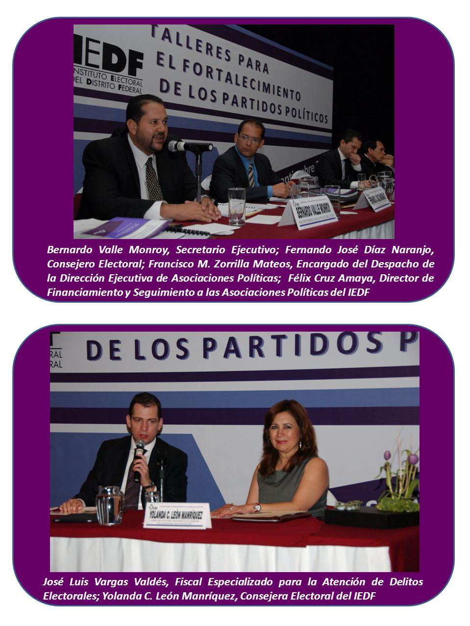 Bernardo Valle Monroy, Secretario Ejecutivo; Fernando José Díaz Naranjo, Consejero Electoral; Francisco M.