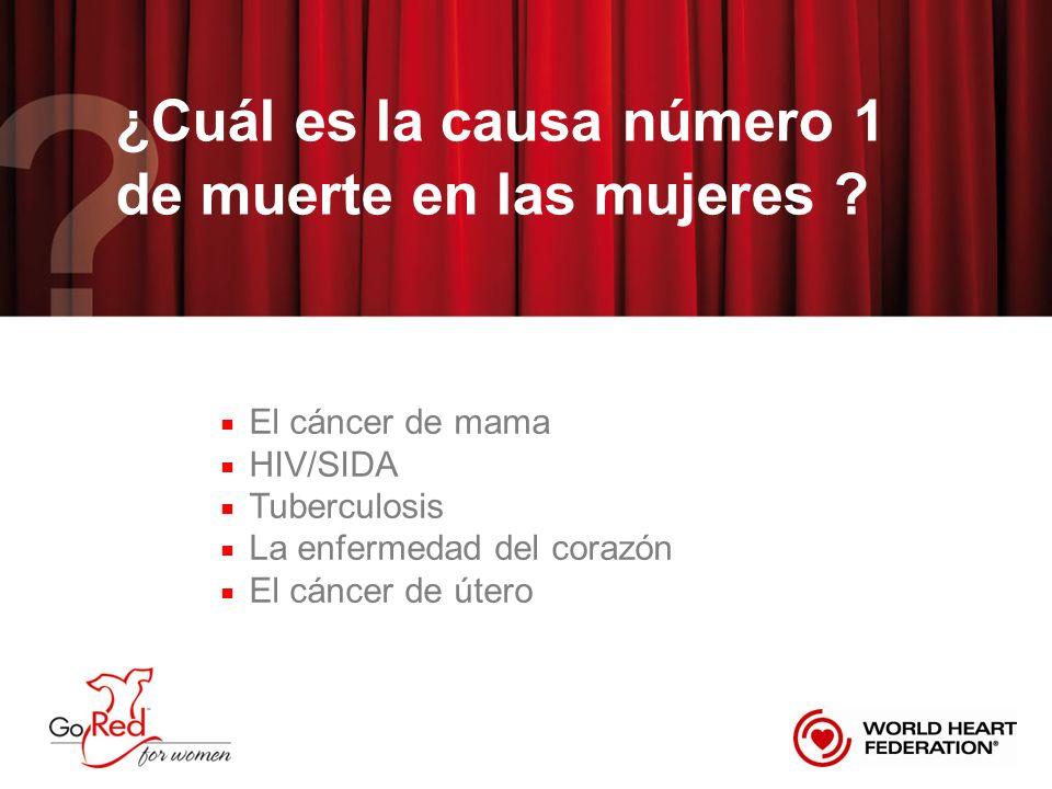 La enfermedad del corazón es la causa número 1 de muerte en las mujeres El cáncer de mama HIV/SIDA Tuberculosis La enfermedad del corazón El cáncer de útero
