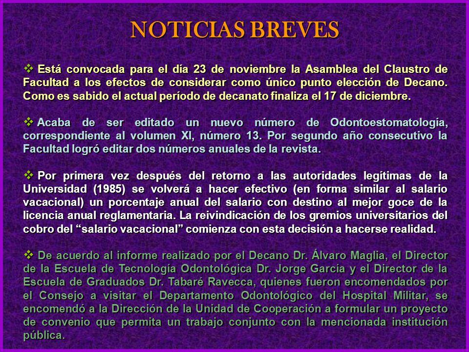 Está convocada para el día 23 de noviembre la Asamblea del Claustro de Facultad a los efectos de considerar como único punto elección de Decano.