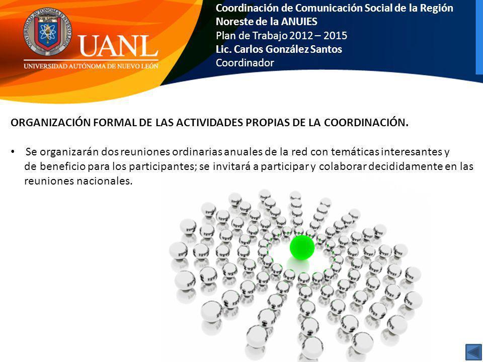 Coordinación de Comunicación Social de la Región Noreste de la ANUIES Plan de Trabajo 2012 – 2015 Lic. Carlos González Santos Coordinador ORGANIZACIÓN