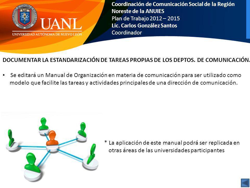 Coordinación de Comunicación Social de la Región Noreste de la ANUIES Plan de Trabajo 2012 – 2015 Lic. Carlos González Santos Coordinador DOCUMENTAR L