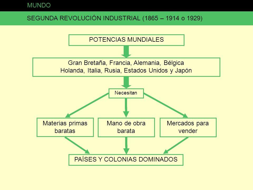 MUNDO SEGUNDA REVOLUCIÓN INDUSTRIAL (1865 – 1914 o 1929) POTENCIAS MUNDIALES Gran Bretaña, Francia, Alemania, Bélgica Holanda, Italia, Rusia, Estados