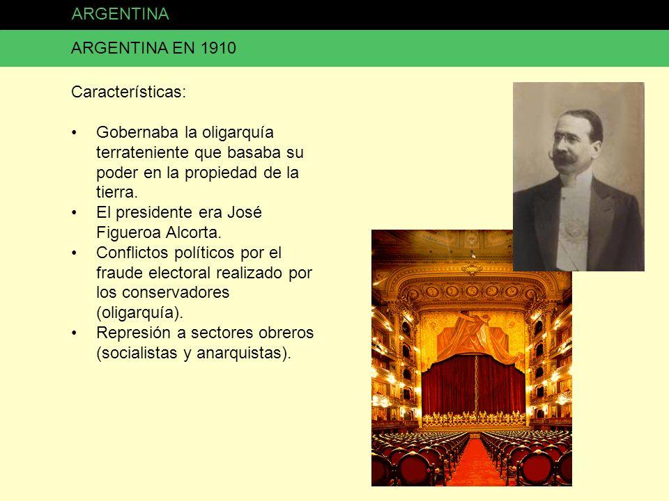 ARGENTINA ARGENTINA EN 1910 Características: Gobernaba la oligarquía terrateniente que basaba su poder en la propiedad de la tierra. El presidente era