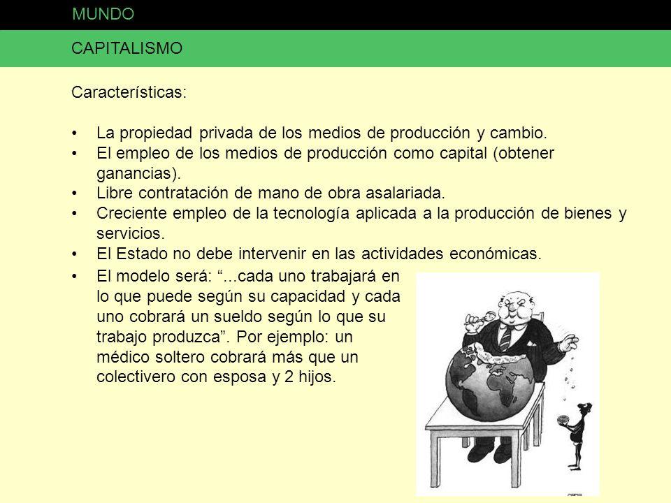 CAPITALISMO Características: La propiedad privada de los medios de producción y cambio. El empleo de los medios de producción como capital (obtener ga